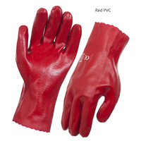 PVC 45cm Red Single Dip Gloves Size 10 (L)